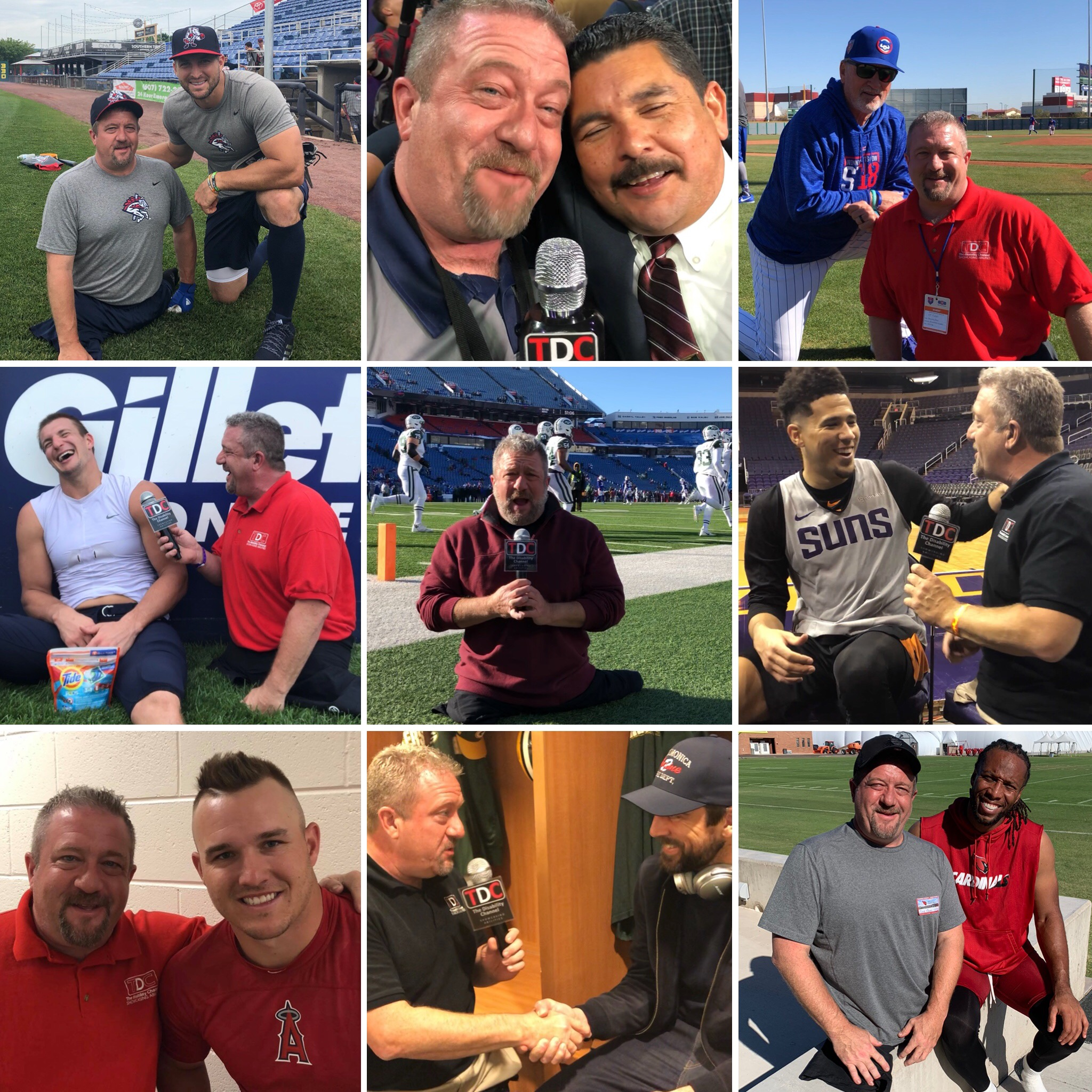 Dave with various sports athletes