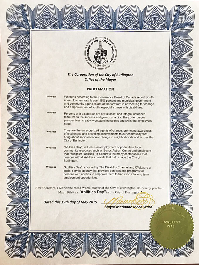 Proclamation from Burlington Mayor