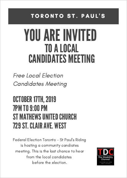 St Paul's Candidates Meeting Invite - October 17, 2019