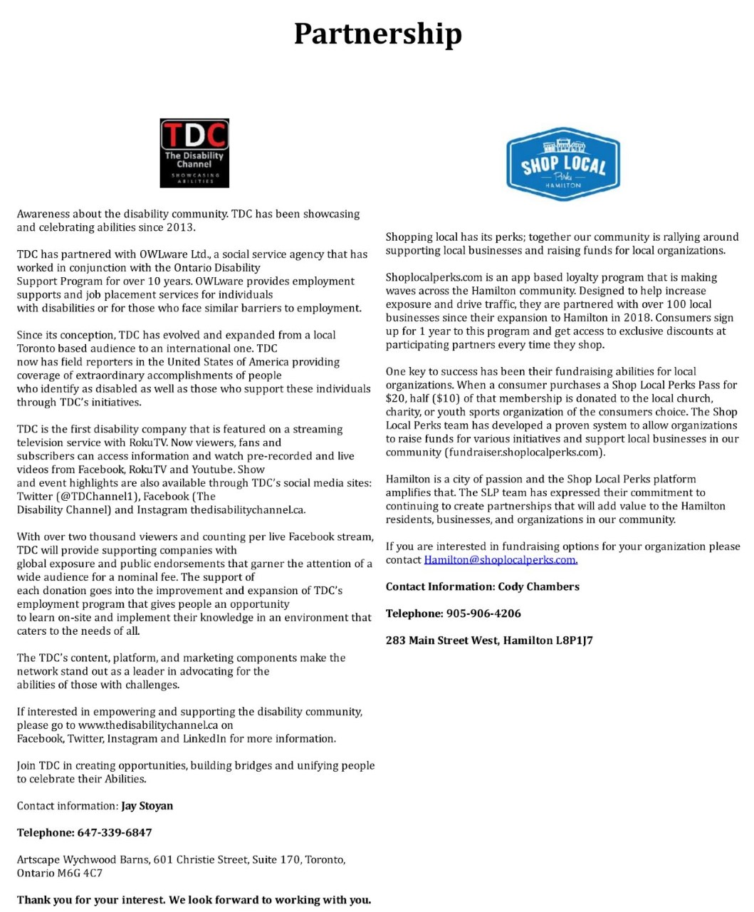 The Disability Channel and Shop Local Perks Partnership Letter