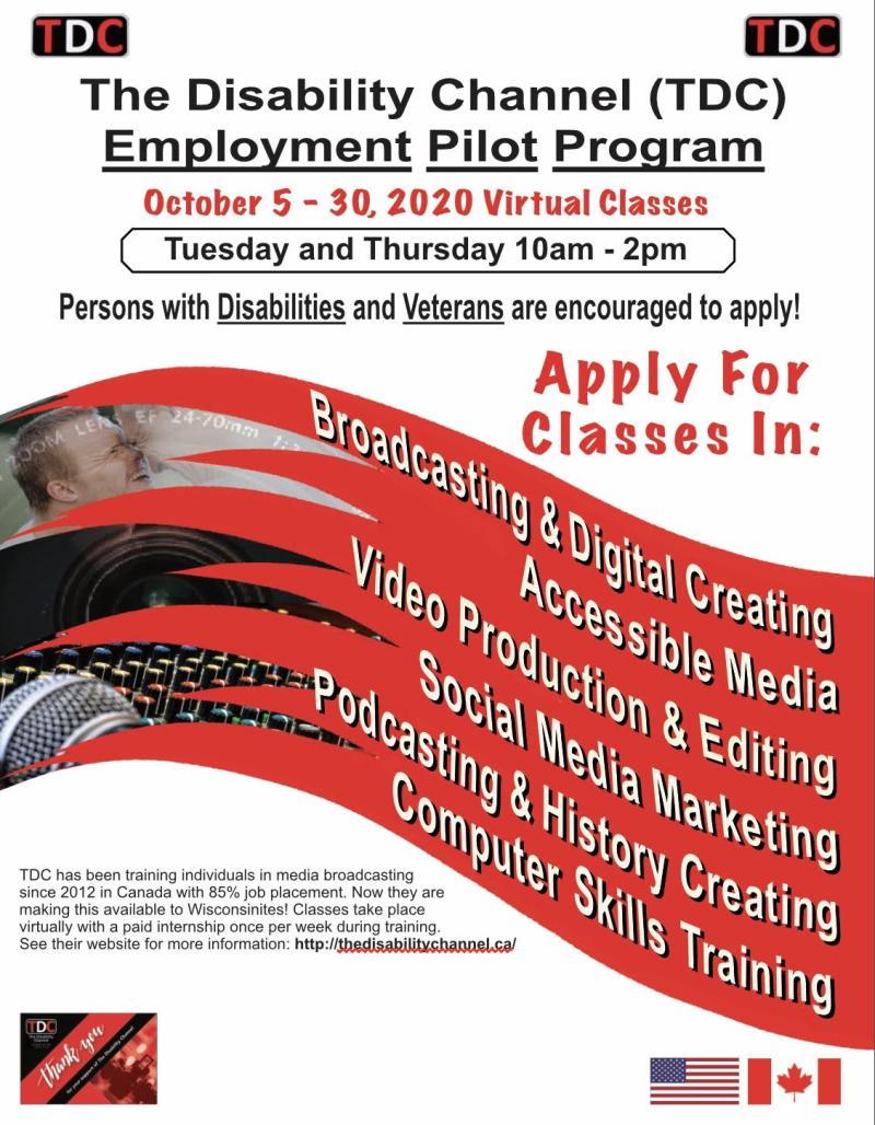 TDC Employment Pilot Program - October 5 - 30, 2020 Virtual Classes flyer